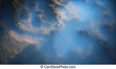 brouillard, lointain, montagne, vallées, couche, mince, gamme