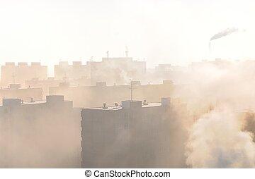 brouillard, secteur résidentiel, smog