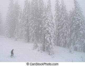 brouillard, ski