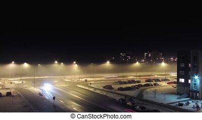 brouillard, time-laps, route, nuit
