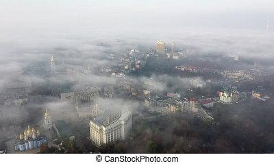 brouillard, ville, vue aérienne