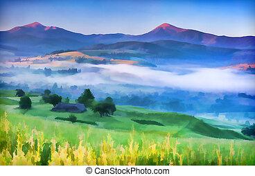 brume, été, village, paysage, montagne