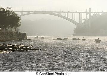 brume, pont, matin, rivière