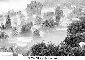 brumeux, aérien, blanc, paysage, ville, colfax, noir, usa, washington, oriental, petit, campagne