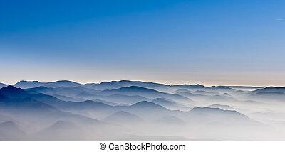 brumeux, collines, paysage, montagne