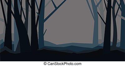 brumeux, dusk., paysage., feuilles, illustration, sans, vecteur, forêt, nuit, fog., horizontal