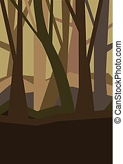 brumeux, dusk., vertical, paysage., feuilles, illustration, sans, vecteur, forêt, nuit, fog.