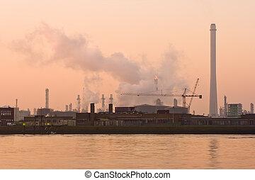 brumeux, industriel, matin, tôt, rive, pollution