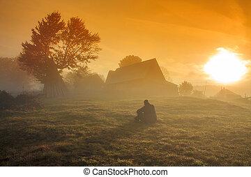 brumeux, levers de soleil, paysage, matin