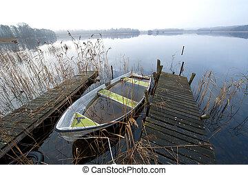 brumeux, novembre, lac, matin