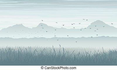 brumeux, oiseaux, paysage, sky.