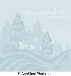 brumeux, paysage hiver