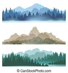 brumeux, paysage, montagnes, ensemble