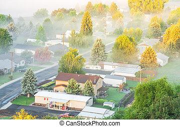 brumeux, ville, usa est, petit, colfax, paysage, campagne, washington, aérien