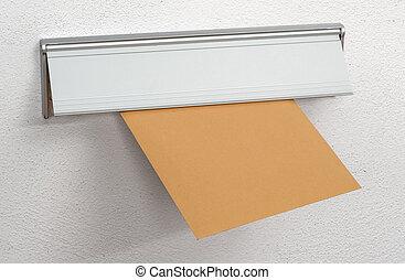 brun, boîte lettres, enveloppe