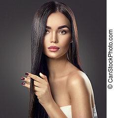 brun, brunette, beauté, sain, longs cheveux, toucher, modèle, girl