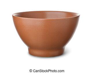 brun, céramique, bol, vide