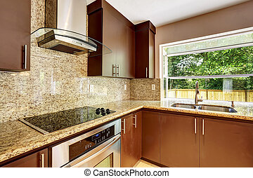 brun, cabinets, salle, trim., moderne, mat, granit, cuisine