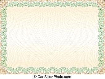 brun, certificat, frontière, paysage vert