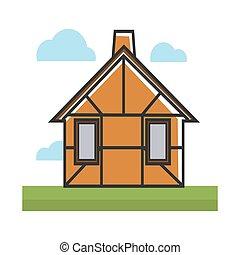 brun, coloré, résidentiel, isolé, illustration, maison, blanc