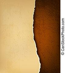 brun, déchiré, vieux, leather., illustration, papier, vecteur, retro, fond