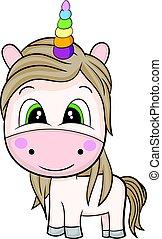brun, dessin animé, unicorn., ombre, mignon
