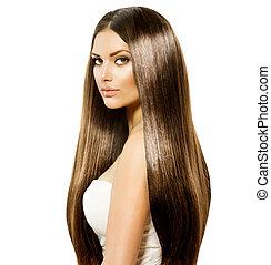 brun, femme, beauté, sain, lisser, longs cheveux, brillant