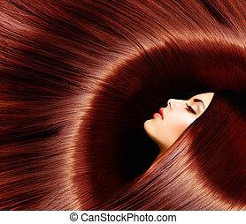 brun, femme, beauté, sain, long, brunette, hair.