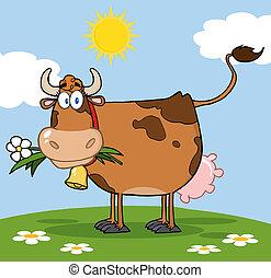 brun, fleur, bouche, vache