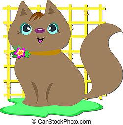 brun, grille, chat jaune