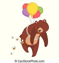 brun, grisonnant, dessin animé, ours