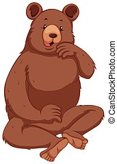 brun, grisonnant, fourrure, ours