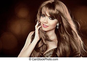 brun, hairstyle., bouclé, long, girl, séduisant, hair., woman., sourire heureux
