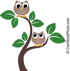brun, hiboux, arbre, deux