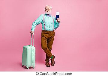 brun, isolé, cheveux gris, repos, pantalon, prise, turquoise, rose, moderne, documents, fond, taille, aller, usure, chaussures, chariot, photo, vouloir, homme, pastel, sarcelle, vieux, entiers, chemise, frais, couleur, bretelles