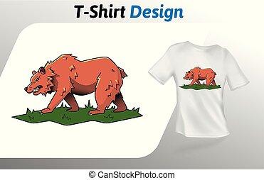 brun, marche, grand, haut, ours, isolé, t-shirt, arrière-plan., print., vecteur, conception, blanc, herbe, template., railler, gabarit