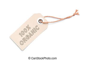 brun, organique, 100%, étiquette, étiquette, carton