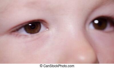 brun, peu, oeil, gros plan, sombre, enfant