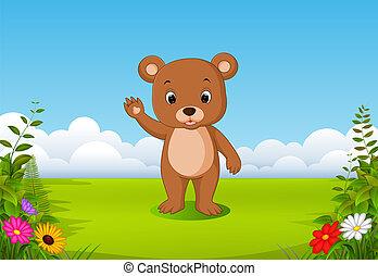 brun, peu, sien, naturel, ours, main, onduler, vue
