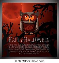 brun, séance, arbre, halloween, illustration, bannière, vecteur, terrifiant, grand, branch., hibou
