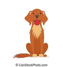 brun, séance, grand, directement, chien, dessin animé, amical