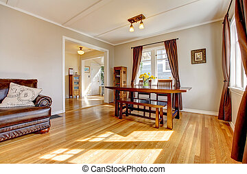 brun, salle, bois dur, floor., dîner, rideau
