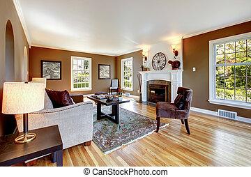 brun, salle, classique, bois dur, floor., vivant, blanc