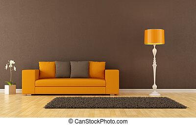 brun, salle, vivant