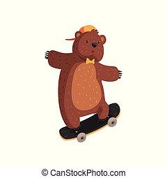 brun, skateboard., pattes, rigolote, dessin animé, animal, orange, cravate, adolescent, plat, ours, petit, fourrure, extrême, claws., kickflip, casquette, arc, tour, sport., vecteur, sauvage, oreilles