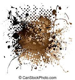 brun, splat, encre
