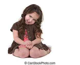 brun, tête, elle, obliquement, enfant, inclinable, jeune, chevelure