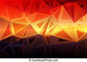 brun, tailles, pourpre, aléatoire, poly, fond jaune, orange, rouges, bas