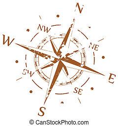 brun, vecteur, grunge, compas