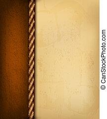 brun, vieux, illustration., vendange, leather., papier, vecteur, fond